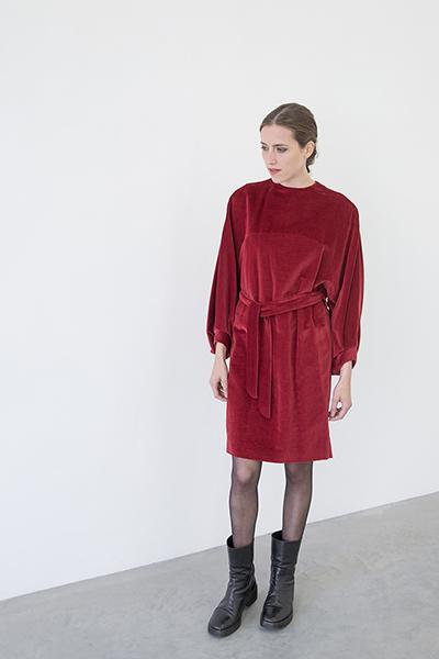 Vidha jurk, fluweel van biologisch linnen-katoen